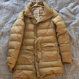 Jackets & Blazers - Hunter mid length camel puffer with fur lined hood